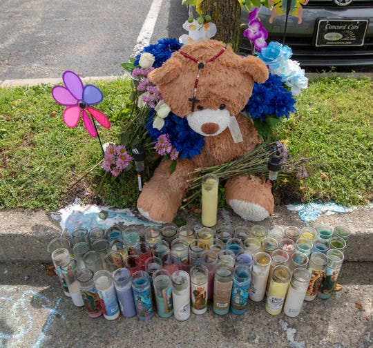 A memorial for Eric Logan in South Bend, Monday, June 24, 2019. The city, home to Presidential hopeful Pete Buttigieg, is where black resident Logan was recently shot and killed by police, causing some to take issue with the way Buttigieg's administration has handled the shooting and other issues of crime and poverty in the city.