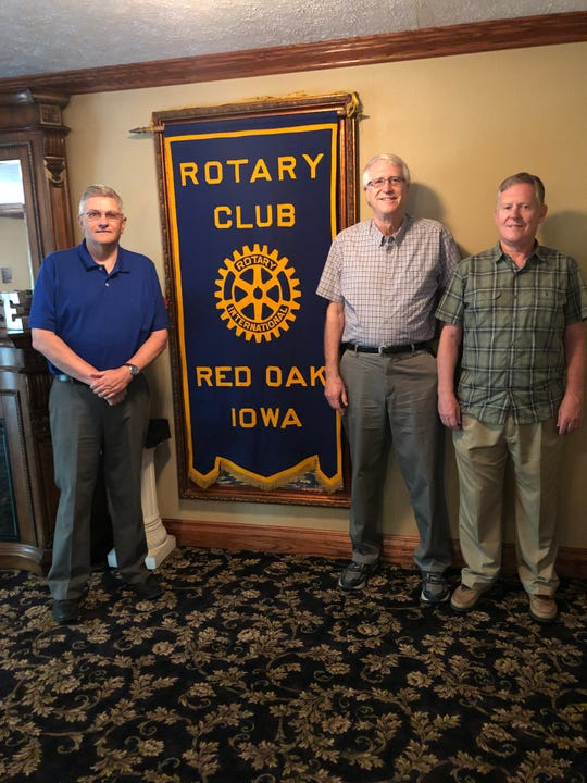 Three Iowa City area men with a strong Red Oak connection provided an unusual program for the Red Oak Rotary Club earlier this month. They are (from left) Rex Brandstatter, Gary Anderson and Steve Houghton.