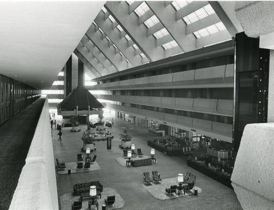 The view of the lobby of the Hyatt Regency from an upper level balcony, May 1972.