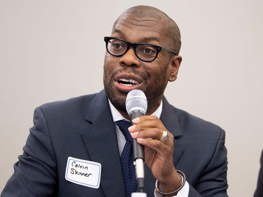 Calvin Taylor Skinner at the League of Women Voters' mayoral forum at the News Sentinel on Tuesday, June 25, 2019.