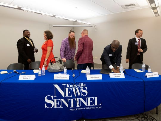City of Knoxville mayoral candidates, from left, Michael Andrews, Fletcher Burkhardt, Indya Kincannon, Eddie Mannis, Calvin Taylor Skinner, and Marshall Stair after a forum at the News Sentinel on Tuesday, June 25, 2019.
