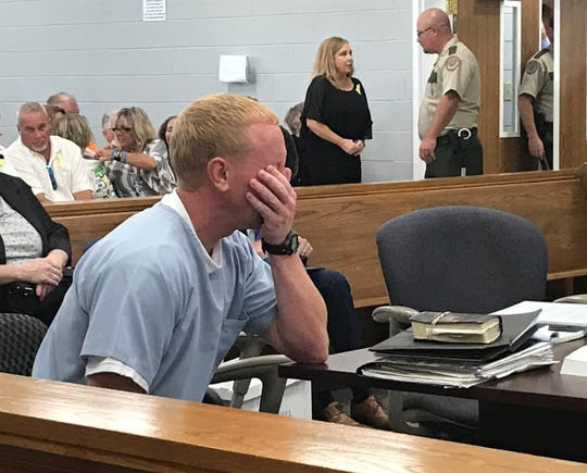 Adam Braseel fights back emotion as he waits for his hearing in Grundy County Circuit Court to begin Wednesday, June 26, 2019. Attorneys for Braseel, who's serving a life sentence for the 2006 killing of Malcolm Burrows, argue he was wrongly convicted and that a similar looking man, now dead, committed the crime.