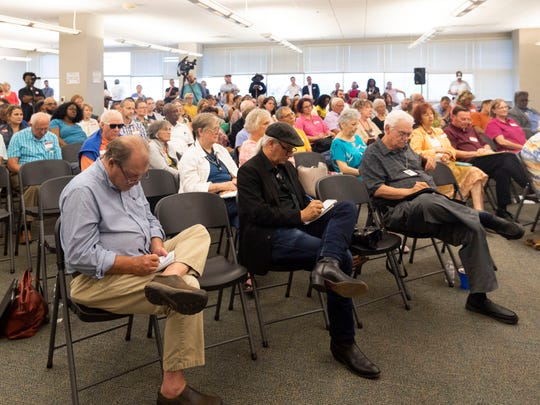 Local news reporters take up the front row during the League of Women Voters'  mayoral forum at the News Sentinel on Tuesday, June 25, 2019.