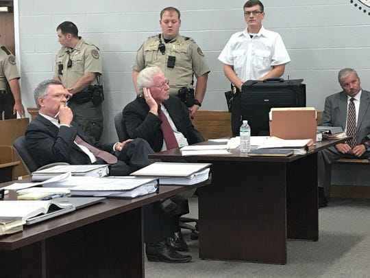 Prosecutors Steve Strain, left, and Mike Taylor listen during a hearing for Adam Braseel in Grundy County Circuit Court on June 29.