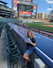 Pinckney's Reece Ohmer was honored at Comerica Park on Tuesday, June 25, 2019 as the female recipient of the Positive Athlete award.
