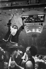 Ron King, a high school All-American, led the Central High School basketball team to the 1969 state championship, scoring 44 points in a 101-72 victory over Ohio County in the championship game. He was named Kentucky's Mr. Basketball and went on to play at Florida State, where he helped the Seminoles reach the 1972 national championship game before losing to UCLA. He was a fourth-round pick of the Golden State Warriors in the 1973 NBA draft but instead chose to play for the ABA's Kentucky Colonels, averaging 7.1 points per game in his one season. He was inducted into the KHSAA's Hall of Fame in 1993.