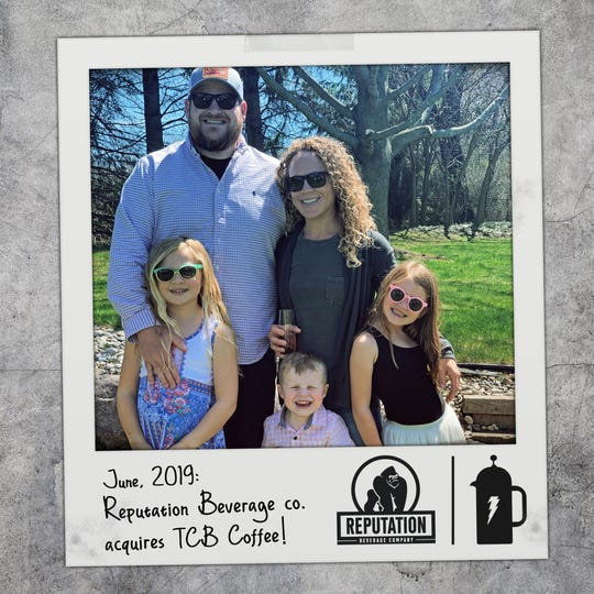 Eric Elliott with his wife, Jessica Searls-Elliott, and children, Lilee, 9; James, 2; and Lucy, 7. Elliott left the beer business to brew coffee and make it home for dinner at night.