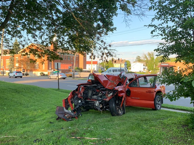 A woman was injured in a single-vehicle crash Tuesday afternoon on Lexington Avenue.
