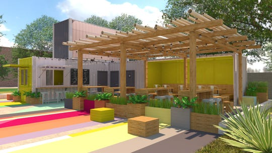A rendering of Soulsville farm-to-table restaurant, Radical Tacos, to be built out of shipping containers.