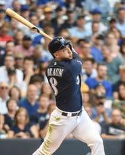 Brewers leftfielder Ryan Braun doubles in the first inning.