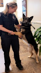 Detective Holly McManus of the St. Francis Police Department has been K-9 Bane's handler since 2014.