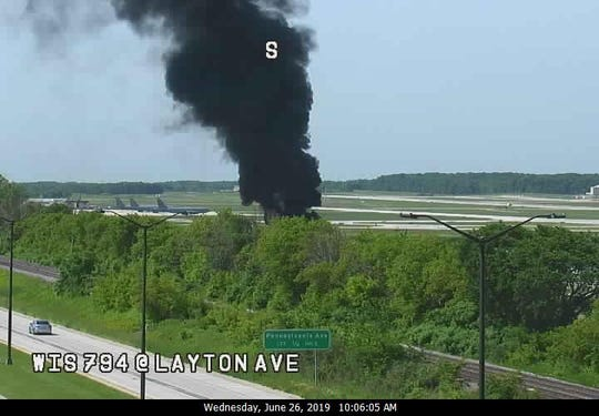 Black smoke from a training fire at Mitchell International Airport Wednesday morning