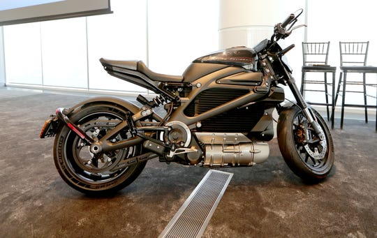The Harley-Davidson LiveWire electric motorcycle is on display during the Summerfest Tech event at Discovery World in Milwaukee on Wednesday, June 26, 2019.