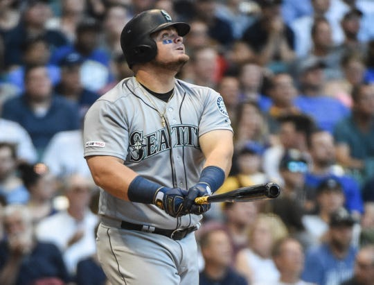 Mariners first baseman Daniel Vogelbach watches one of his 20 home runs this season. He was selected as an MLB All-Star on Sunday.
