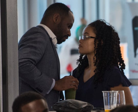 Rasheed and Jacqueline McKinney talk during a start up entrepreneurship class at the Kress Building in Montgomery, Ala., on Monday, June 24, 2019.