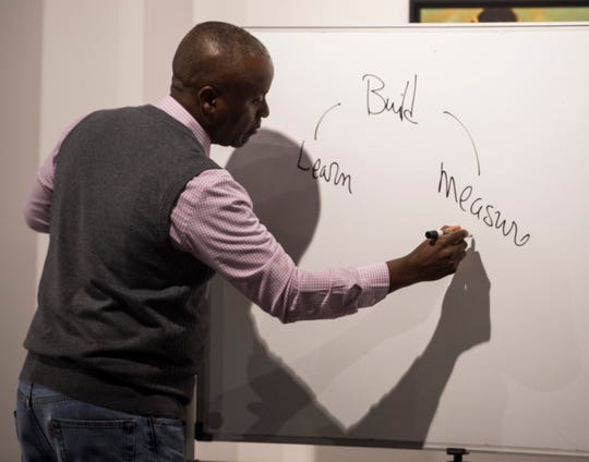 Boyd Stephens speaks during a start up entrepreneurship class at the Kress Building in Montgomery, Ala., on Monday, June 24, 2019.
