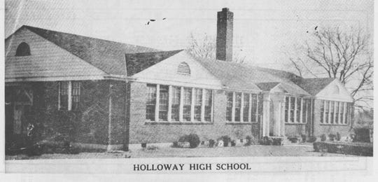 The site of Holloway High School was originally the location of a school, built with a grant from the Rosenwald Fund. Later the school was torn down, and the high school was built in its place.