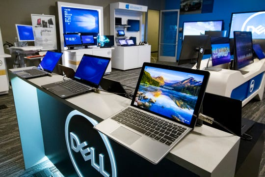 Various Dell products are on display in the solutions center at Dell Technologies' One Dell Parkway campus in Nashville.