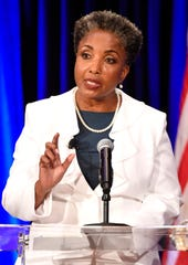 Retired Vanderbilt professor Carol Swain participates in a mayoral forum at McAfee Concert Hall on Belmont University's campus Tuesday, June 25, 2019.