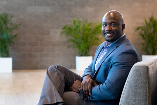 Co-site Director and Mid-Market Sales Director Carnell Elliott sits in the lobby of Dell Technologies' One Dell Parkway campus in Nashville on Wednesday, June 26, 2019.