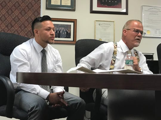 Jovanny Crespo, at left, with his attorney Patrick Toscano June 26, 2019.