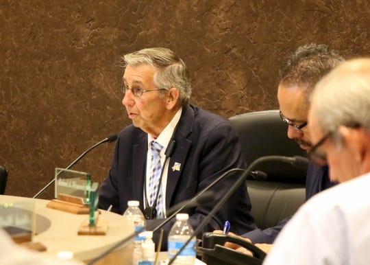 Carlsbad Mayor Dale Janway talks during the June 25, 2018 City Council meeting.