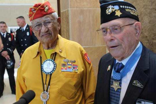 "World War II veterans Thomas H. Begay, left, and Hershel ""Woody"" Williams speak to the media Wednesday at the Farmington Museum. Begay, a Navajo Code Talker, and Williams, the last living WWII Congressional Medal of Honor recipient, fought during the Battle of Iwo Jima."