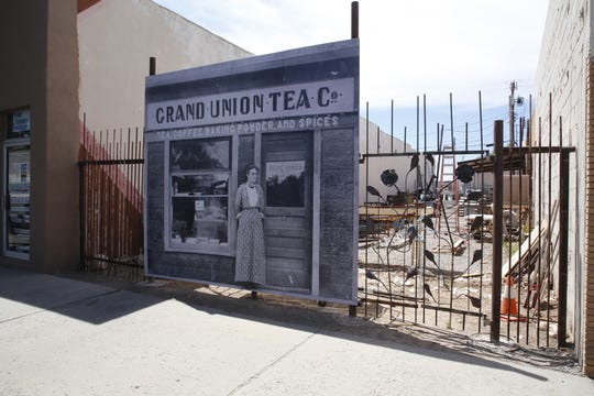 "A ""photo mural"" featuring a downtown Farmington image from the early 1900s has been assembled in front of the space at 201 E. Main St."