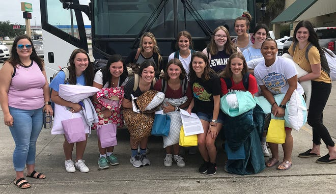 Alyssa Aymond (pictured left), chairman of Post 45 Girls' State and District 7 American Legion Girls' State delegates pose for a photo before their departure to Natchitotches to begin the 2019 session of Louisiana Girls' State, June 23-June 29.