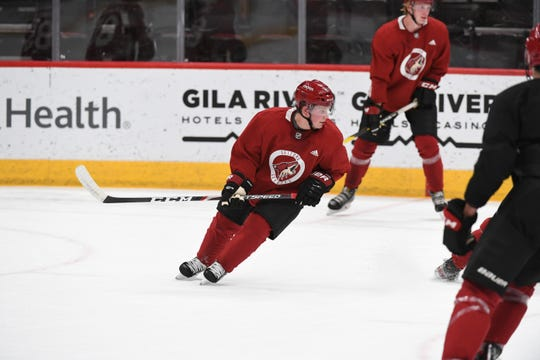 Sean Dhooghe skates at the Coyotes' prospect development camp on Tuesday at Gila River Arena.