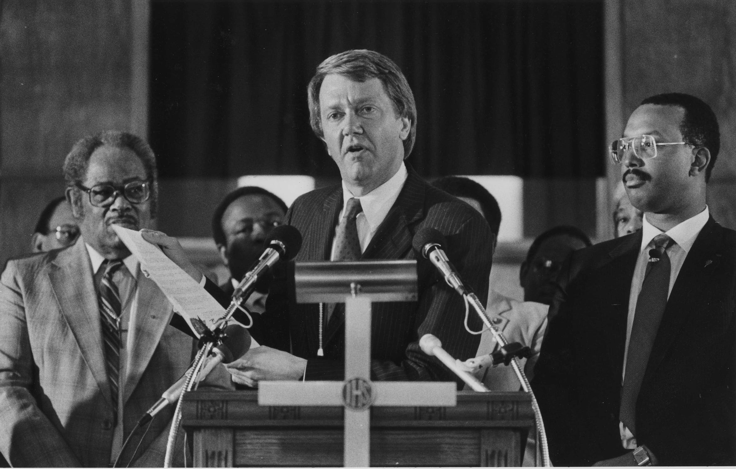 Gov. Bruce Babbitt announces that he had proclaimed Martin Luther King's birthday as a state holiday, in this file photo from May 17, 1986.
