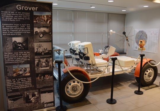 The Grover, a vehicle used to train Apollo astronauts in northern Arizona in the 1960s and early 1970s is on display at the USGS Astrogeology center in Flagstaff.