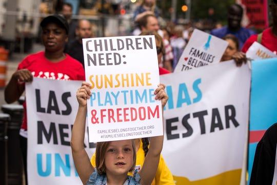 Protesta en contra de la separación de familias en la frontera.