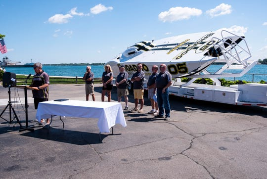 2014 World Champion Chuck Broaddus, left, stands in front of the Broadco boat while he delivers remarks during a press conference for the St. Clair River Classic Wednesday, June 26, 2019, at the Voyageur restaurant in St. Clair. It was announced that Jeff Katofsky, developer of the St. Clair Inn, would be sponsoring Broaddus and his team.