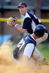 Jacobus infielder Kyle Saxman forces out East Prospect's Tanner Forry and turns a double play during Susquhanna League action last June. The 2020 Susquehanna League season has been put on hold because of the coronavirus pandemic. Bill Kalina photo