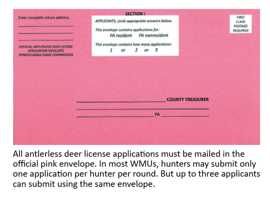The traditional pink envelope Pennsylvania hunters have been using to apply for antlerless licenses for years.