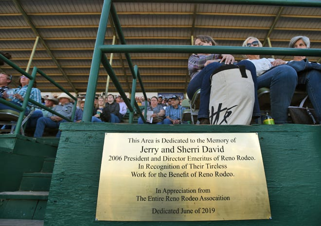 A plaque honoring Jerry and Sherri David is mounted at the grandstands inside the Reno Rodeo stadium.