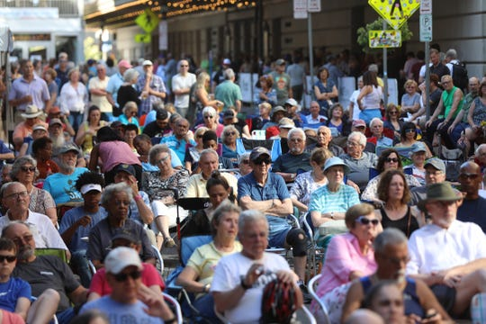 Gibbs Street fills up fast during the Rochester Jazz Festival.