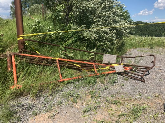 The gate at an abandoned quarry on Clover Street in Pittsford.