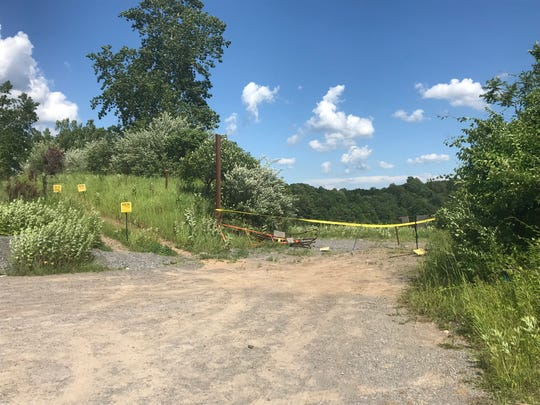 The entrance to the abandoned quarry on Clover Street in Pittsford, where deputies said six teens went fishing Tuesday night.