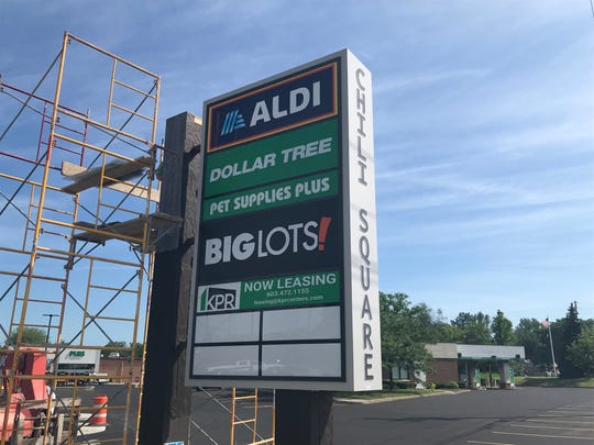 The sign at Chili Square, the former KMart building on Chili Avenue. The Aldi store opens on June 27.