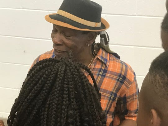 Percussionist Newman Taylor Baker chats with young members of the Boys and Girls Club after his performance on Wednesday, June 26, 2019 in Exmore, Virginia.