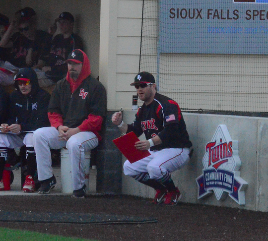 Brandon Valley coach Jeremy VanHeel reacts to a strikeout earlier this season at a game in Brandon.