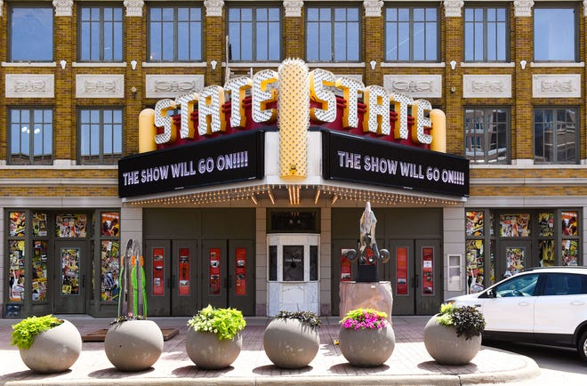 """The State Theatre plans to open in spring of 2020, announcing the opening with a marquee reading """"the show will go on!"""" on Wednesday, June 26, in Sioux Falls."""