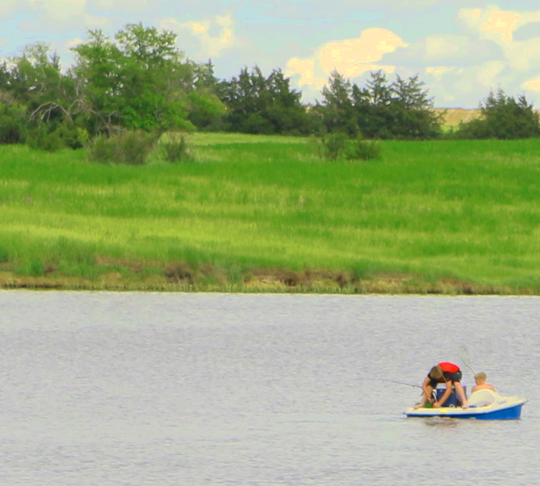 In addition to water control, many dams in South Dakota create reservoirs that provide opportunities for recreation. These young anglers tried their luck recently on the lake formed by the Brakke Dam in Lyman County.