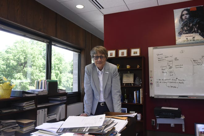 St. Cloud State President Robbyn Wacker poises for a portrait in her office on Tuesday, June 25, 2019.
