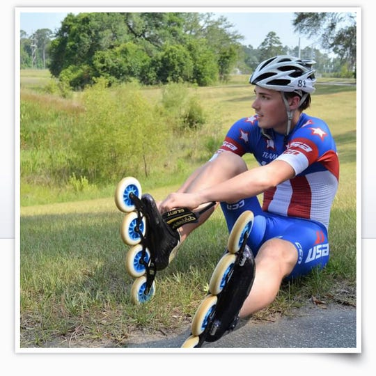 James Sadler is among 4,000 athletes from 81 countries competing at the World Roller Games this year.