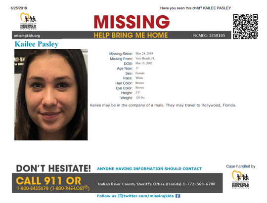Kailee Pasley, 17, was reported missing May 25 from Vero Beach, sheriff's officials said.