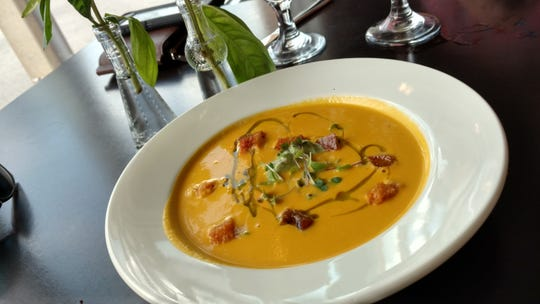 We enjoyed a nice, big bowl of magnificent caramelized carrot bisque at The Edgewood Eatery. Every spoonful delivered Thai curry flavors with pesto crème fraiche.