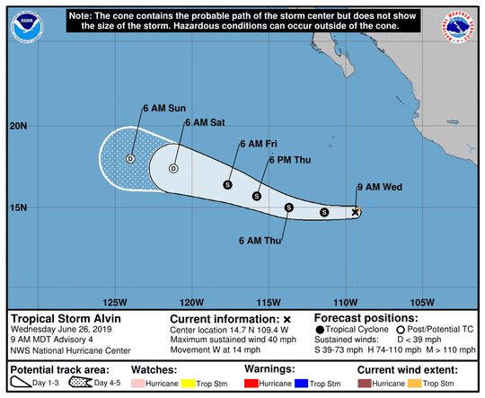 Tropical Storm Alvin forms in eastern North Pacific June 26, 2019.